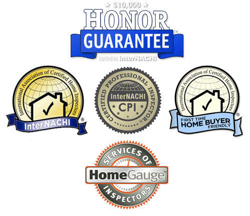 Certification Logos: International Association of Certified Home Inspectors (InterNACHI), InterNACHI Certified Professional Inspector (CPI), InterNACHI First Time Home Buyer Friendly, InterNACHI $10,000 Honor Guarantee, and HomeGauge Inspector logo