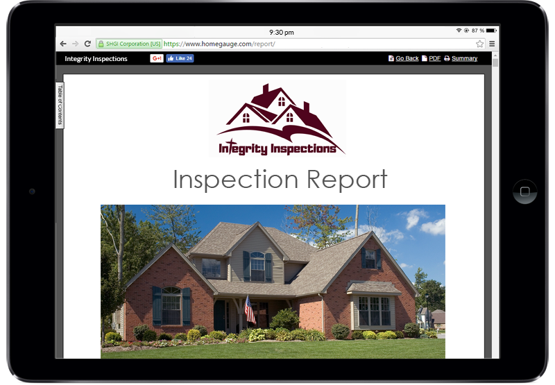 Example of a digital inspection report on a tablet screen included as part of our home inspection services